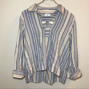 Lou & Grey Striped Button Down Blouse with Collar